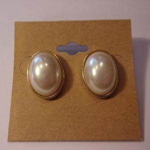 Marvella Faux Pearl Oval Button Pierced Earrings
